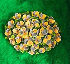 New listing Miniature Dollhouse Fairy Garden Bush of Pansies Pansy