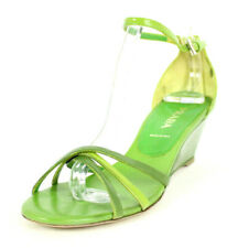 PRADA Green Patent Leather Strappy Mid-Heel Wedges Sandals 36.5