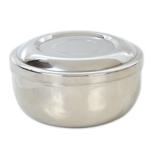 New Pro Stainless Steel Stylish Shinning Double Layer Shaving Mug Bowl With Lid