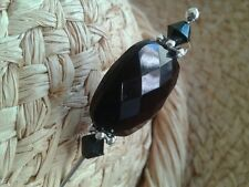 """Elegant long black & silver hat pin with clutch """"Handmade by Helen"""""""