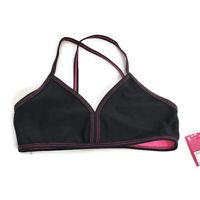 Xhilaration Girls Bikini Swim Top Size Small 6/6X Black Pink Triangle Crisscross