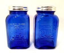"Cobalt Blue Salt & Pepper Shakers Retro Depression Glass Set Metal Lids 4.5"""