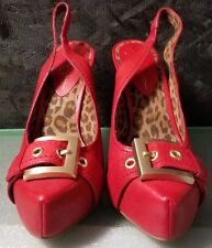 Red Leather Sling w Gold Buckle & Wood Heel by Jessica Simpson, Size 7.5M, NWB