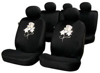 Sumex Universal 11pc Padded Foam Protect Car Seat Covers Full Set - Skull & Rose