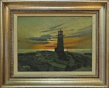 STANLEY ZUCKERBERG (NY 1919-1995) ORIGINAL SIGNED PAINTING LIGHTHOUSE AT SUNSET