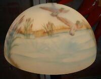 "Rare Vintage Reverse Painted Glass Lamp Shade Ducks Pond Flowers 14"" D Gorgeous"