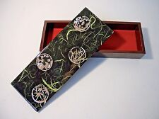 "Chinese Lacquer 9"" Wooden Jewelry Trinket Box Mother of Pearl Inlay"