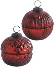 Victorian Trading Co Glowing Garnet Glass Ornament Lidded Candle
