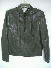 WORTH Brown 100% Genuine Leather Full-Zip Jacket sz 8