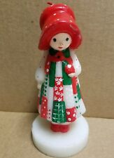 """Vintage 1980s 6"""" Holly Hobbie American Greetings Wax Candle Red Bonnet and Dress"""