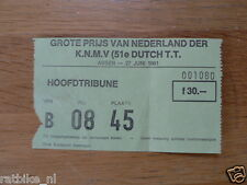1981 TICKET DUTCH TT ASSEN 1981 GRAND PRIX,MOTO GP HOOFDTRIBUNE