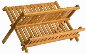 Sagler wooden dish rack plate rack Collapsible Compact dish drying rack Bamboo d