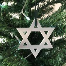 Grigio Chiaro Stella di Davide Decorazioni Albero Di Natale & verde nastro,