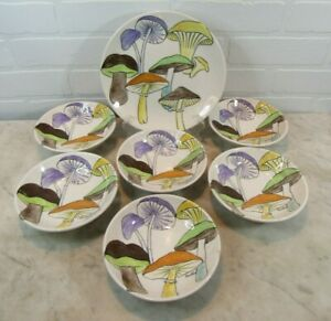 RARE Ernestine Pottery Salerno Italy Mushroom Pattern #791 1 PLATE 6 BOWLS AS IS