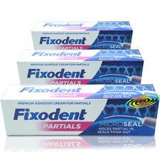 3x Fixodent Plus for Partials Zero 0% Percent Denture Adhesive Cream 40g