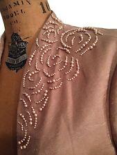 Adrianna Camel Brown Cropped Bolero Jacket w Floral Pearl motifs at Collar-Sz10