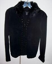 Willi Smith Black Suede Rabbit Fur Trim Studded Sweater Top Sz Small EUC