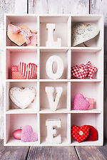 STUNNING SHABBY CHIC STYLE HEARTS LOVE CANVAS #882 WALL HANGING PICTURE ART A1