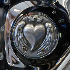Heart shaped points cover in aged aluminum finish. Harley Twin Cam. PCHA-1