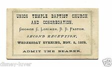 Vintage Admission Card Ticket UNION TEMPLE BAPTIST CHURCH 2nd Reception 1873