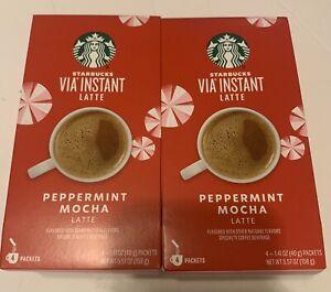 Lot of Starbucks Coffee (8 PACKETS) Via Instant Latte Peppermint Mocha Latte NEW