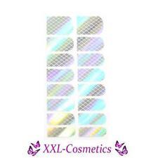 16 x Nagelfolie Nail Art Stripes Folie Silber Hologram Karo #NF-25