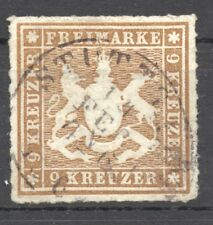 Wuerttemberg, 1865 the 9 KR. Michel 33 b, Scott 45 rouletted, VF + used
