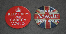 """Harry Potter Collector's Pins Lot Of 2 ~ Keep Calm Make Magic 3.5 """" Ships Quick"""