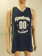 Reebok classic Tank Top basketball jersey Navy gray lettering embroidered Large