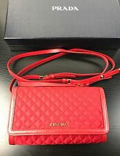AUTHENTIC NWT Prada Red Quilted Envelop Wallet / Crossbody Bag Purse