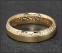 Diamant 750 Gold Ring, 0,15ct Lupenrein & River D Brillanten, Rosegold Bandring