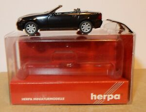 MICRO HERPA HO 1/87 MERCEDES SLK ROADSTER CABRIOLET OUVERT NOIRE #022149 IN BOX