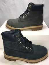 """Timberland Grade School Size 4y Waterproof Leather 6"""" Boots Blue New $140"""