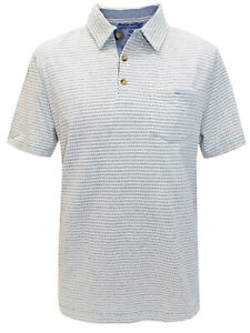 Mens EX White Stuff Ivory Pure Cotton Printed Polo Shirt Size M-L Jun 20-3
