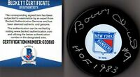 "BECKETT-BAS BOBBY HULL #9 ""HOF 1983"" AUTOGRAPHED-SIGNED NEW YORK RANGERS PUCK 10"