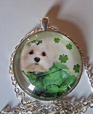 St Patricks Day necklace shamrock West Highland Terrier dog glass jewelry