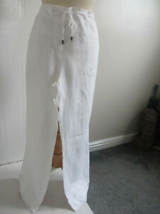 M&S Ladies White Linen Trousers Wide Leg Drawstring Waist Pockets Size 16