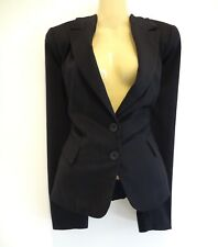 *JACQUI E* TIMELESS CLASSIC TAILORED BLACK PINSTRIPE OFFICE JACKET s12 AS NEW!
