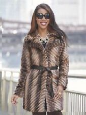 sz 3X Nasim Coat with Belt Faux Fur Brown by Ashro new