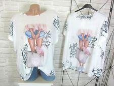 Blogger T-Shirt Tunika Shirt mit Tasche Schrift Beine Print 42 44 46 Weiß P248