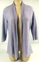 Eileen Fisher Women's Open Front Cardigan Size S 100% Hemp Lilac Long Sleeve top