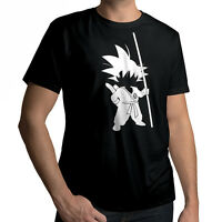 Anime Young Goku Tail Silhouette Short Sleeve Top T-Shirt Black Size XL