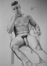 CLASSIC MALE NUDE 3. Gay interest DRAWING. RCA artist  A3 by Neil.
