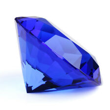 Big 60mm Blue Crystal Diamond Shape Paperweight Facet Glass Jewel Wedding Gifts
