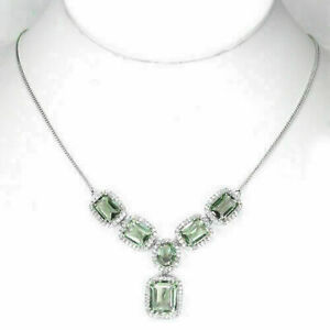Necklace Green Amethyst Genuine Natural Gems Sterling Silver 17 1/4 to 19 1/2 In
