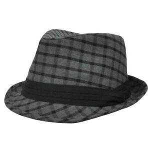 Dark Gray Black Plaid Square Small Medium Trilby Fedora Stetson Homburg Hat