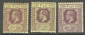 FIJI : 1912 3d  purple/yellow-three shades  SG130,130b,130c mint hinged
