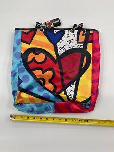 Authentic Romero Britto Tote Bag with Detachable Strap