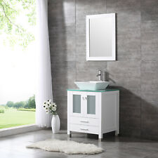 "24"" White Bathroom Vanity Cabinet Wood w/ Mirror Single Ceramic Vessel Sink"