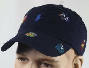 Polo Ralph Lauren Navy Blue Baseball Ball Cap Hat Varsity Collegiate Logos NWT